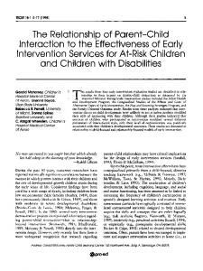 The Relationship of Parent-Child Interaction to the ...