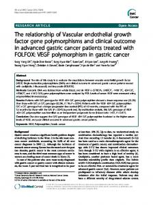 The relationship of Vascular endothelial growth factor ... - BioMedSearch