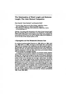The Relationship of Word Length and Sentence Length - CiteSeerX