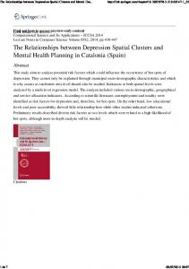 The Relationships between Depression Spatial ...