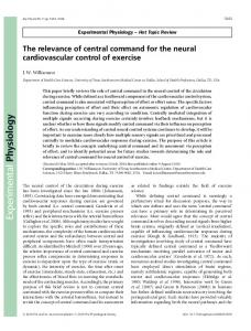 The relevance of central command for the neural ... - Semantic Scholar