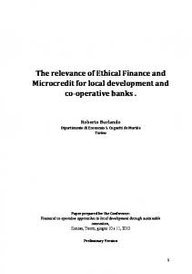 The relevance of Ethical Finance and Microcredit for ...