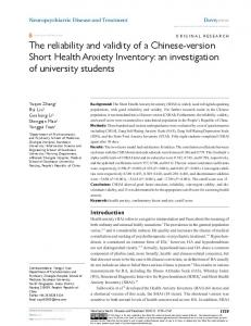 The reliability and validity of a chinese-version ... - Semantic Scholar