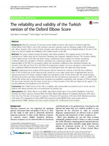 The reliability and validity of the Turkish version of the Oxford Elbow ...