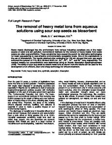 The removal of heavy metal ions from aqueous solutions ... - CiteSeerX
