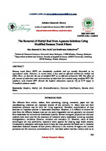The Removal of Methyl Red from Aqueous Solutions Using Modified ...