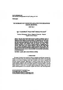 THE RESEARCH OF COGNITIVE AND ... - facta universitatis