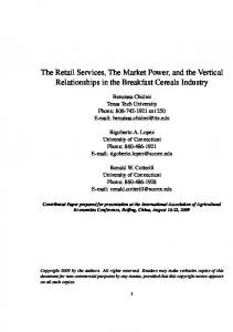 The Retail Services, The Market Power, and the ... - AgEcon Search