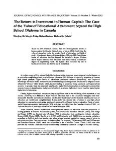 The Return to Investment in Human Capital