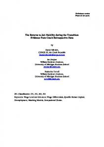 The Returns to Job Mobility during the Transition ... - CiteSeerX