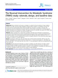 The Reversal Intervention for Metabolic Syndrome