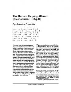 The Revised Helping Alliance Questionnaire (HAq - II)