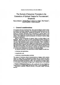 The Revival of Reduction Principles in the Generation of Optimal ...