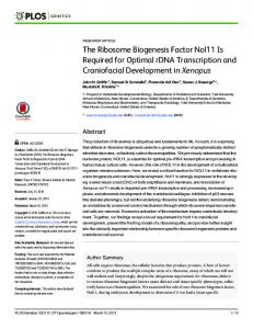 The Ribosome Biogenesis Factor Nol11 Is Required for Optimal ... - Plos