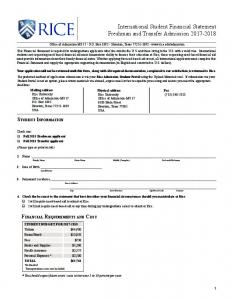 The Rice International Student Financial Statement