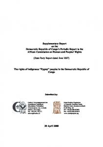 The rights of indigenous Pygmy peoples in the Democratic Republic ...