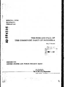 THE RISE AND FALL OF THE COMMUNIST PARTY OF INDONESIA