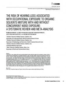 the risk of hearing loss associated with occupational exposure to ...