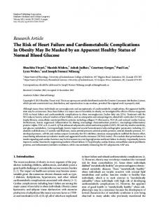 The Risk of Heart Failure and Cardiometabolic Complications in ...