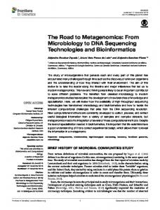 The Road to Metagenomics: From Microbiology to