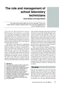 The role and management of school laboratory technicians