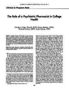 The Role of a Psychiatric Pharmacist in College Health