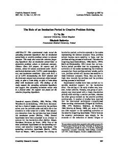 The Role of an Incubation Period in Creative Problem ... - Psychology