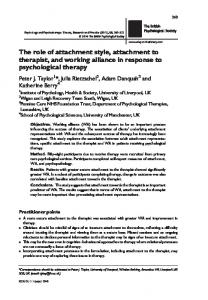 The role of attachment style, attachment to ... - Wiley Online Library