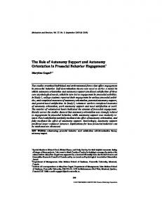 The Role of Autonomy Support and Autonomy Orientation in Prosocial ...