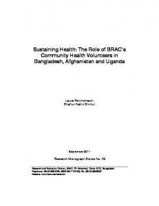 The Role of BRAC's Community Health Volunteers in Bangladesh ...