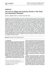 The role of college and university faculty in the fossil fuel divestment ...