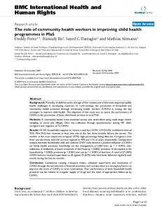 The role of community health workers in improving child health ...