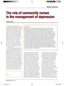 The role of community nurses in the management of depression