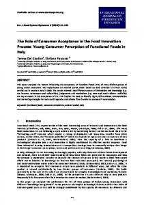 The Role of Consumer Acceptance in the Food ... - AgEcon Search