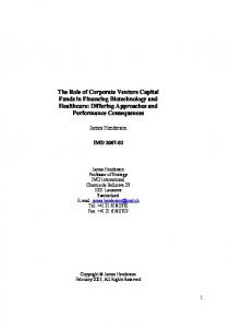 The Role of Corporate Venture Capital Funds in Financing ...