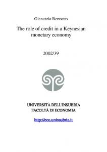 The role of credit in a Keynesian monetary economy