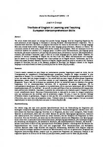 The Role of English in Learning and Teaching European ... - UNIL
