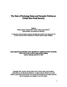 The Role of Exchange Rates and Domestic Policies ... - AgEcon Search
