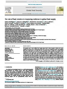 The role of food retailers in improving resilience in global food supply ...