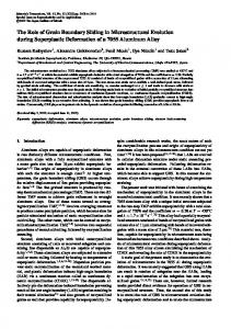 The Role of Grain Boundary Sliding in Microstructural Evolution during ...