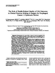 The Role of Health-Related Quality of Life Outcomes in Clinical ...