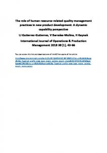 The role of human resource-related quality management practices in ...