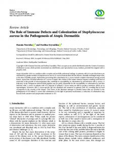 The Role of Immune Defects and Colonization of Staphylococcus ...