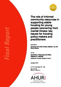 The role of informal community resources in supporting stable housing ...