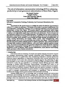 The role of information communication technology (ICT) in enhancing