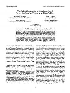 The Role of Instruction in Learning to Read: Preventing Reading ...