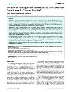 The Role of Intelligence in Posttraumatic Stress ... - Semantic Scholar