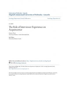 The Role of Interviewer Experience on Acquiescence