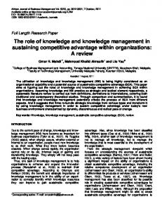 The role of knowledge and knowledge management in sustaining ...