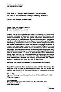 The Role of Lifestyle and Personal Characteristics on ... - Springer Link